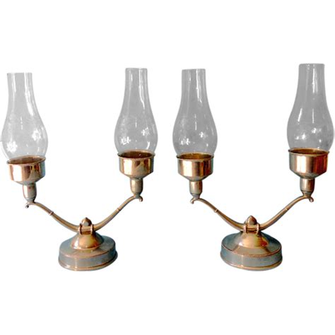 Pewter Hurricane L by Pair Pewter Candle Holders Etched Hurricane
