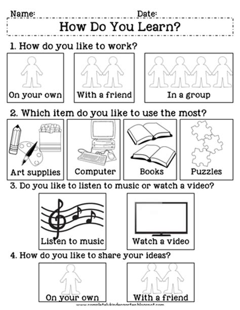 printable iq test for elementary students multiple intelligences survey how do you learn by