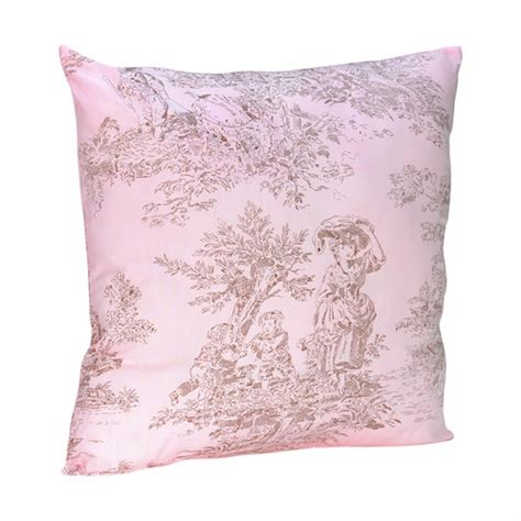 pink and brown toile accent decorative throw pillow