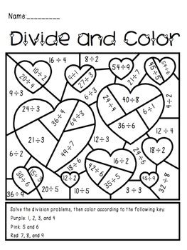 valentines coloring pages math valentine s day divide and color activity by the busy