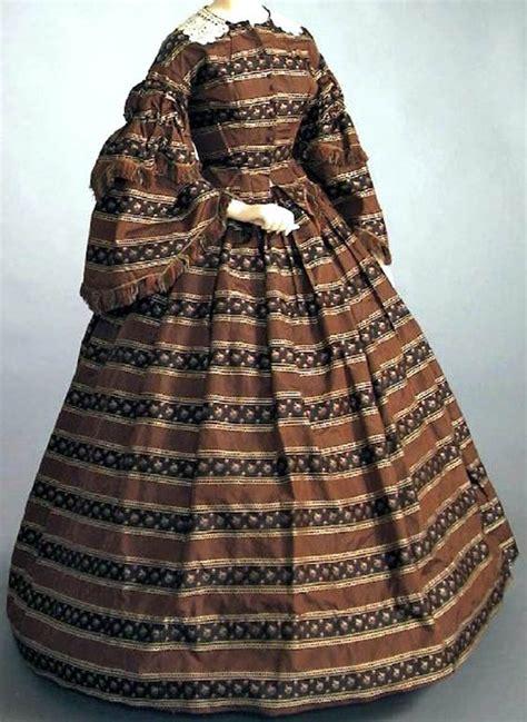 Sleeve Broad Brown afternoon dress ca 1860 brown silk with pattern of broad