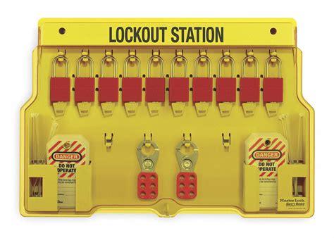 Masterlock 1482b Lockout Station master lock lockout station filled 10 padlocks 2cjn5 1483bp1106 grainger