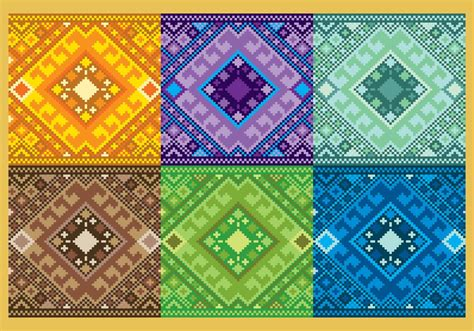 Pattern Aztec pixelated aztec patterns free vector stock