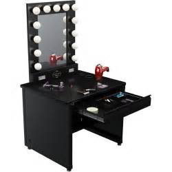 Makeup Desk With Lights And Mirror Broadway Lighted Vanity Desk 36 X 30 Quot Black Frame Black Surface Vanity Mirrors