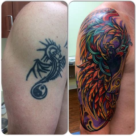 cover up of old tribal with bold phoenix design