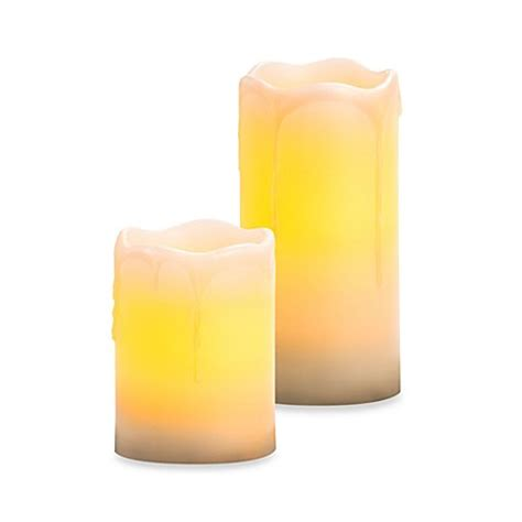 bed bath and beyond candles melted top drip flameless wax pillar candles with vanilla