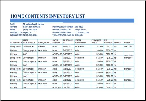 Home Contents Inventory Template excel home contents inventory list template excel templates
