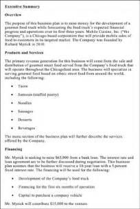 food truck business plan executive summary good small