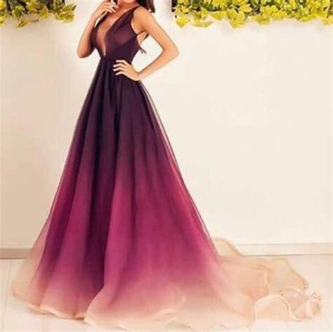crimson color dress ombre crimson to organza v neck sleeveless prom