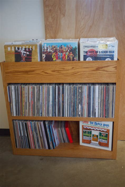 custom built record shelf