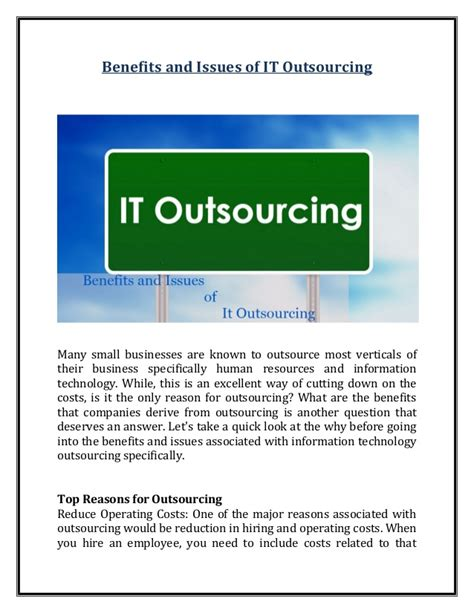 Mba Outsourcing by Benefits And Issues Of It Outsourcing