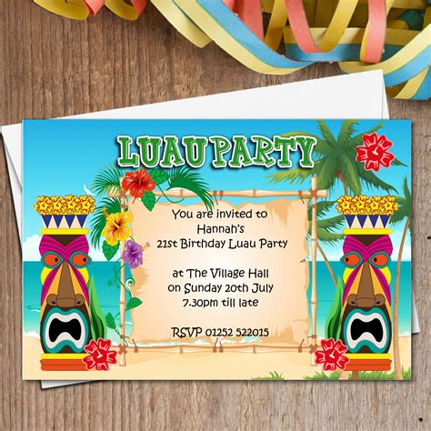 card template hawaian birthday 10 personalised luau hawaii invitations n165
