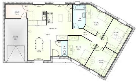 plan pavillon 100m2 plan de maison plein pied en v plan de maison