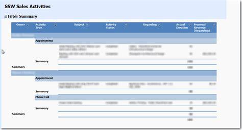 standard layout of a report microsoft dynamics crm suggestions feedback ssw sydney