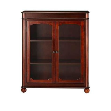 Cherry Bookcase With Doors Home Decorators Collection Essex 39 In H Suffolk Cherry 3 Shelf Bookcase With Glass Doors