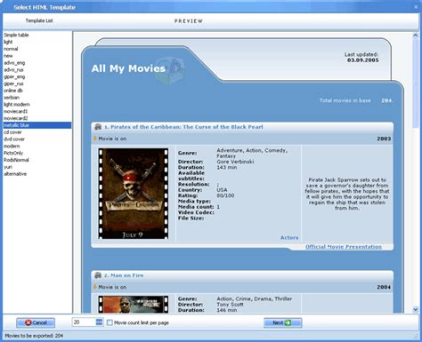 all my movies selection of the html template screenshot