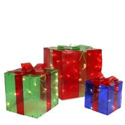 set of 3 lighted glistening prismatic gift box christmas yard art decoration set of 3 outdoor lighted presents