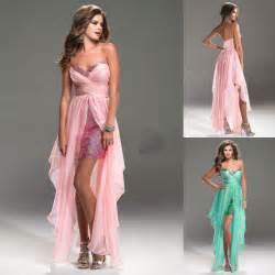 Young girls party prom dresses pink dress short front long back green