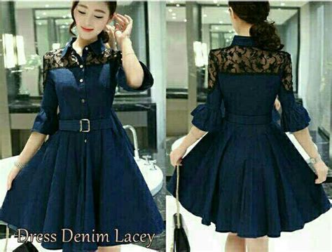 model baju dress pendek denim dewasa modern terbaru