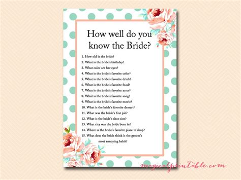 how well do you the template mint and bridal shower magical printable