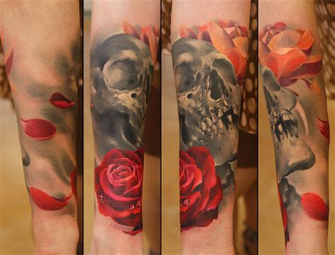 3d skull tattoo designs 3d flower and skull design design idea