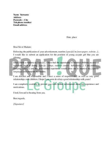 Lettre De Motivation De Famille D Accueil Lettre De Motivation Fille Au Pair En Anglais Pratique Fr