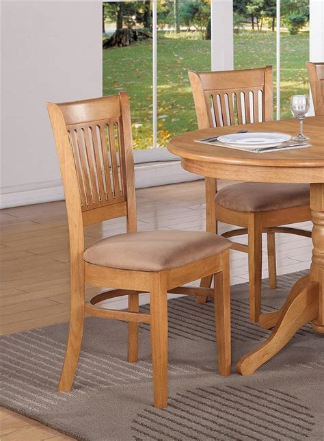 Kitchen Chairs And Tables Set Of 4 Kitchen Dining Chairs With Microfiber Cushion Seat In Oak Finished
