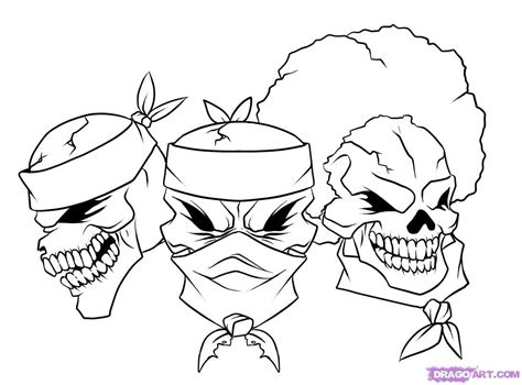 cartoon skull coloring page how to draw gangsta step by step skulls pop culture