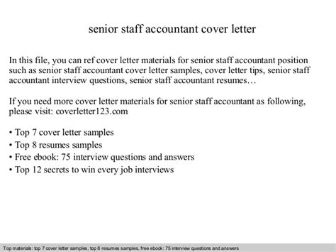 Cover Letter Accounting Staff Senior Staff Accountant Cover Letter