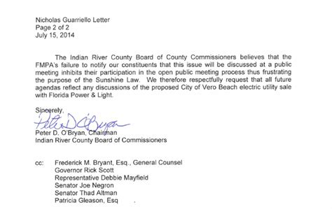 Complaint Letter Ending o bryan copies gov on complaint letter to fmpa indian river guardian