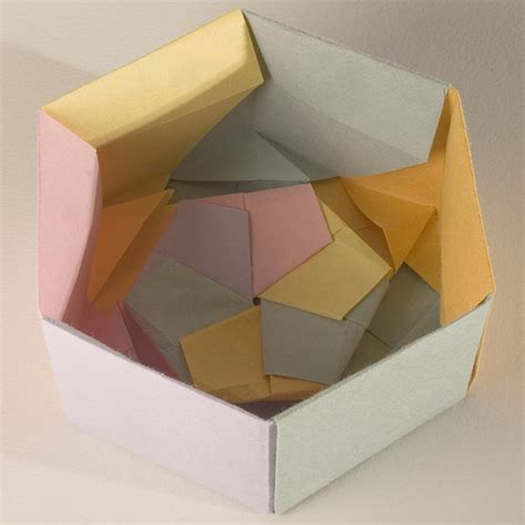 Origami Gift Box With Lid - base of decorative hexagonal origami gift box with lid re