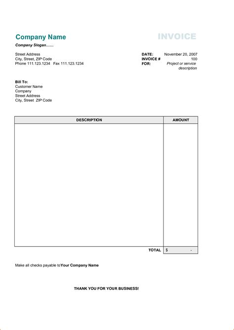 templates for business invoices 4 business invoice template printable receipt