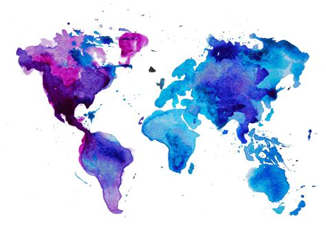 The World In Watercolor by Watercolor World Map Blue Wall Mural Photo Wallpaper