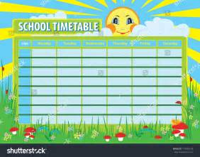 School Photo Template by School Timetable Print Template Background Stock