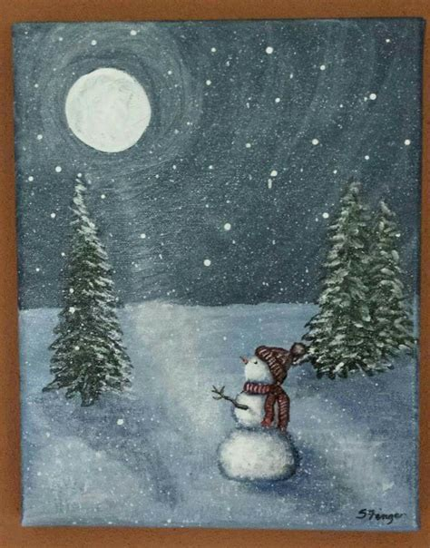 paint nite snowman moonstruck snowman acrylic painting worked on smaller