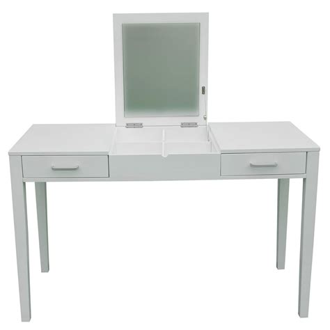 White Vanity Table With Mirror 47 Quot L Vanity Makeup Dressing Table Desk Make Up Lift Top Mirror 2 Drawers White Smart Cart