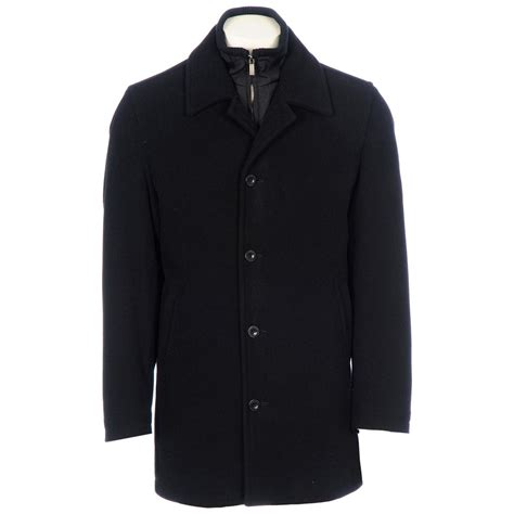 mens chaps wool bibbed car coat black