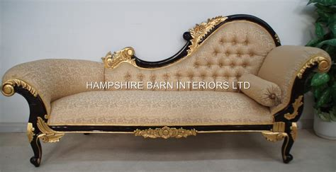 ornate couch chaise longue large ornate mahogany w gold cream lounge
