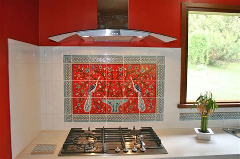 red tile backsplash kitchen paula s red peacocks kitchen backsplash tile