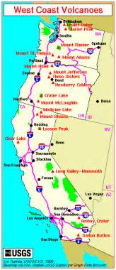 map of california oregon major west coast volcanoes washington oregon and