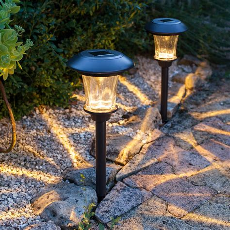 pair of glass solar stake lights by lights4fun - Terrassenbeleuchtung Solar