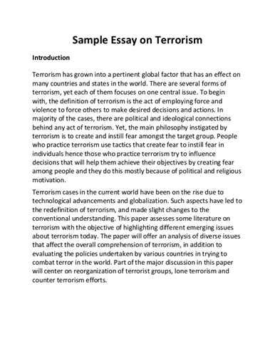 9 11 Essay Paragraph by Quot Essay On Terrorism Is A Productive Political Strategy Quot
