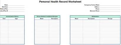 personal health record template personal family health record worksheet excel