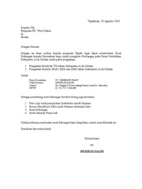 format surat pernyataan ketersediaan barang surat dukungan 1