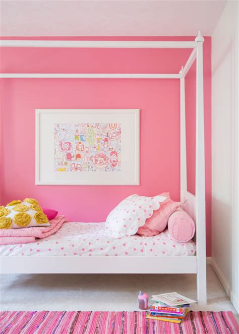 pink color bedroom walls girls bedroom pink feature wall bedding and rug interiors by color