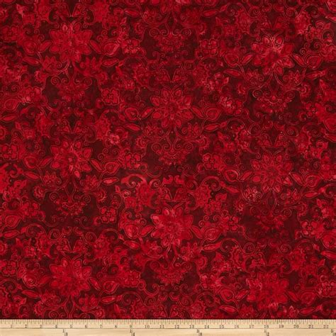 red damask upholstery fabric bali batiks handpaints floral damask red velvet discount