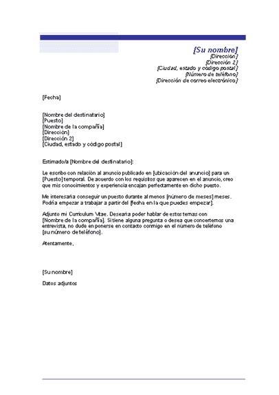 Plantilla Curriculum Carta De Presentacion Free Gratis Carta De Presentaci 243 N Para Un Puesto Temporal Plantillas Modelos Formatos