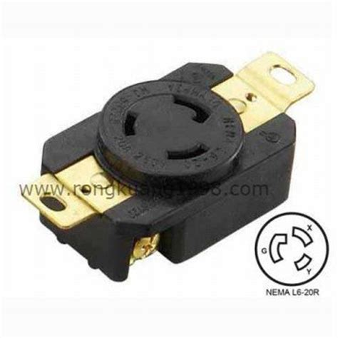 wj 6322b nema l6 20r 20a 250v locking receptacle nema