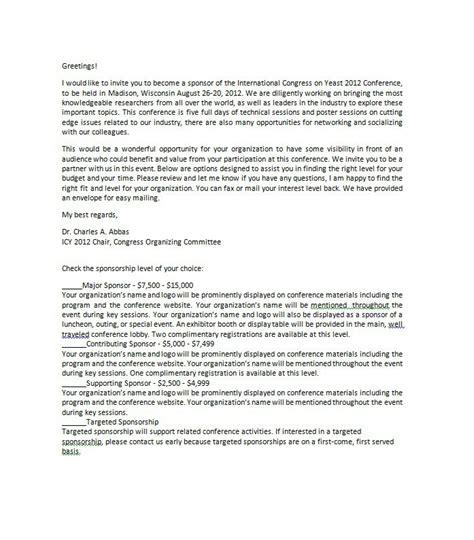 Sponsor Letter Format Sponsor Letter Templates Docoments Ojazlink