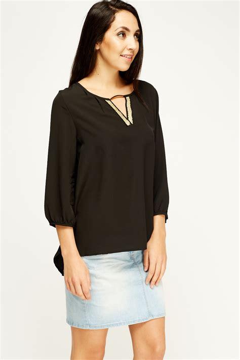 Top Atasan Blouse Wanita 1 keyhole sheer blouse top 4 colours just 163 5